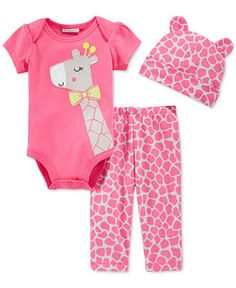 7dbfbd16e First Impressions Baby Girls' 3-Piece Giraffe Bodysuit, Pants & Hat Set,  Only at Macy's & Reviews - Sets & Outfits - Kids - Macy's
