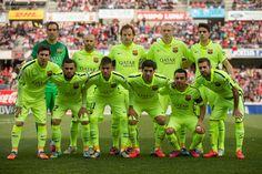 FC Bracelona line up prior to start the La Liga match between Granada CF and FC Barcelona at Nuevo Estadio de los Carmenes on February 28, 2015 in Granada, Spain.
