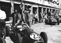 Roy Salvadori (GBR) (Cooper Car Company), Cooper - Climax (RET) In the background: - Juan Manuel Fangio's Maserati - Maserati -. New Drivers, Car And Driver, Le Mans, Maserati, Grand Prix, Gilles Villeneuve, Salvador Dali, Vintage Racing, Formula One