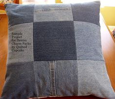 Denim Pillow by Quilted Cupcake, via Flickr
