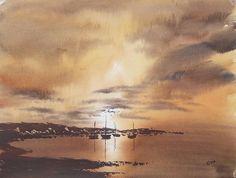 Sunset Original Art Watercolour Painting by Steven Cronin