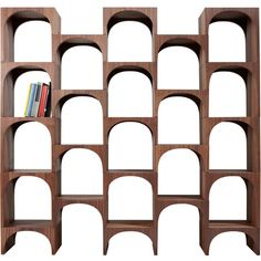 Internoitaliano Home Nepi 23 Piece Modular Shelving (¥1,504,915) ❤ liked on Polyvore featuring home, furniture, storage & shelves, bookcases, brown, brown shelf, walnut bookcase, brown bookcase, shelf bookcase and modular bookcase