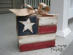 brown paper packages: {flag blocks}
