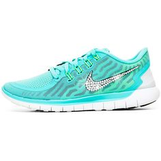 Blinged Womens Nike   5.0 Running Shoes Aqua Customized With Swarovski... ($150) ❤ liked on Polyvore featuring shoes, athletic shoes, light blue, sneakers & athletic shoes, tie sneakers, women's shoes, light blue running shoes, aqua shoes, swarovski crystal shoes and light blue shoes