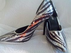 "SZ 7.5B COLIN STUART BLACK AND SILVER SEQUIN STRIPED 4,5"" STILETTO HEEL  WRAP #ColinStuart #Stilettos"