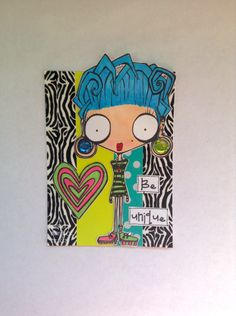 Sassy Monster Crafts: Mod Girl ATC using a digital stamp from The Octopode Factory