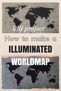 DIY-Anleitung: Beleuchtete Weltkarte selber bauen - DIY Project: How to make a illuminated Worldmap, DIY projects, DIY tutorial, wallpicture, wallart, design, graphics, silhouette cameo #diy #wallpicture #wall-art #tutorial  #design  #project