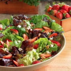 Heirloom Lettuce Salad with Strawberries, Walnuts, and Goat Cheese