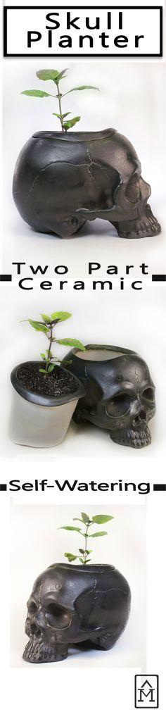 Self watering ceramic skull planter Skull Planter, Porous Materials, Self Watering, Ceramic Planters, Window Sill, Metallic, Ceramics, Dark, Garden