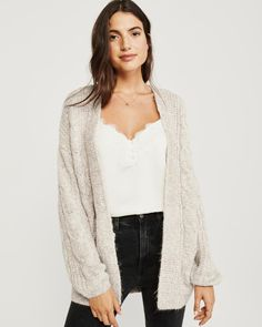 Puffed Sleeve Cable Cardigan, fall fashion, fashion trends #ad