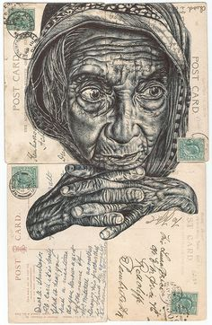 Bic biro drawing on antique postcards Biro Drawing, Pen Drawings, Medical Drawings, Biro Portrait, Mark Powell, Sketchbook Layout, Collages, Creta, A Level Art