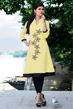 Party Wear Georgette Kurti in Light Yellow Colour.It has V Neck,3/4th Sleeves.It is crafted with Embroidery Design...