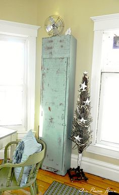 Lovely distressed blue cabinet.