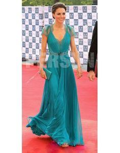 "Chiffon V-Ausschnitt Prinzessin Kate Promi-Kleid auf dem ""London Olympic Gala""-Konzert"