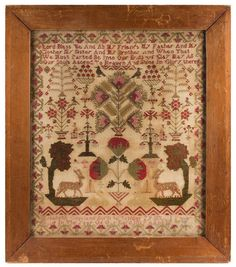 Antique English Needlework Sampler by Elizabeth Gowland, Circa 1819, entire view