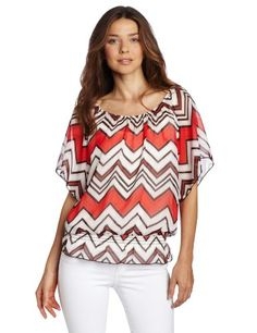 AGB Women`s Print HMC Top With Could Shoulder Bell Sleeves for only $16.15 You save: $25.85 (62%) + Free Shipping