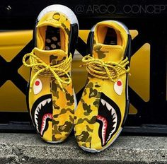 """adidas NMD Human Race x Pharrell Williams x BAPE """"Yellow Shark Camo"""" -Chubster favourite ! - shoes for men - chaussures pour homme - Sneakers Mode, Custom Sneakers, Custom Shoes, Sneakers Fashion, Fashion Shoes, Me Too Shoes, Men's Shoes, Shoes Sneakers, Yellow Sneakers"""