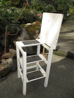 This Wonderful Solid Wood, Vintage Stool   Step Stool   Step Ladder,  Features A