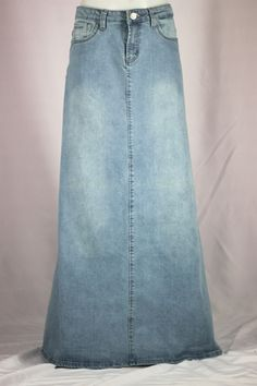 Just Me Long Jean Skirt