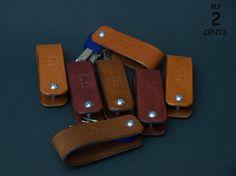 Porte-clefs en cuir personnalisé porte-clés par 2centsleathershop