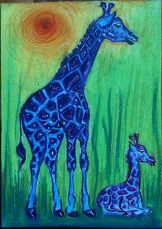 Giraffenmutter mit Jungem mit Neocolor gemalt