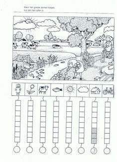 Colour and count Preschool Worksheets, Kindergarten Math, Teaching Math, Learning Activities, Preschool Activities, Kids Learning, Visual Perceptual Activities, Math School, Hidden Pictures