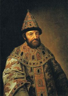 Alexis, Tsar of All Russia (1629-1676).  Son of Tsar Michael I and Tsaritsa Eudoxia Lukyanovna.  He chose Maria Ilyinichna Miloslavskaya from hundreds of noble girls to be his wife.   She was the mother of the Tsars Feodor III of Russia and Ivan V of Russia, as well as regent princess Sophia Alexeievna.  Alexei's second wife was Natalya Kirillovna Naryshkina, who was the mother of Tsar Peter I of Russia.