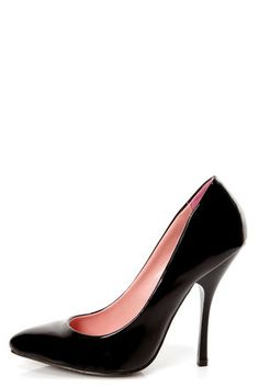 Shoe Republic LA Ethel Black Patent Pointed Pumps