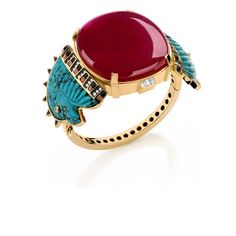 Silvia Furmanovich collections: Eagle and Ruby Cabochon Bracelet; 18 carat gold, diamond, coral, onyx, turquoise, ruby