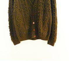 Vintage Hand Knit Deep Olive Popcorn Cardigan / Chunky Knit Sweater / Bobble Stitch Slouchy Vintage Cardigan / Vintage Jumper