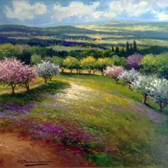 "GERHARD NESVADBA - Paintings""Spring In Bloom"" by Gerhard Nesvadba 31x31 Oil On Canvas"