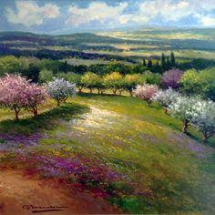 "GERHARD NESVADBA - Paintings""Spring In Bloom"" by Gerhard Nesvadba 31x31 Oil On Canvas"