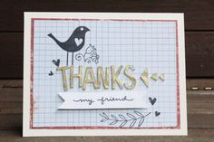 thank you card, made with diy shrink plastic alphas and washi tape.  #thankyoucard  #cardmaking