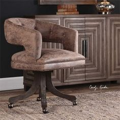 Uttermost Waylon Cocoa Brown Swivel Chair