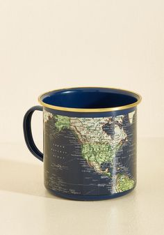 Locate and Percolate Mug. You dont need a map to find your morning coffee, but adding this navy mug to your collection may help you discover the perfect roast. #blue #modcloth