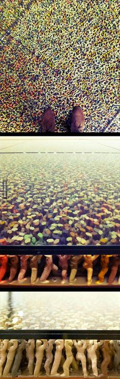 This glass floor is being held up by thousands of plastic toy figures