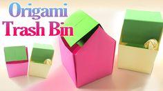 How to Make an Origami Trash Bin Step by Step   Paper Trash Bin Tutorial...