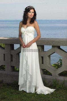 Criss Cross Chiffon A-line Brush Train Draping Sweetheart Wedding Dress - Shedressing.com