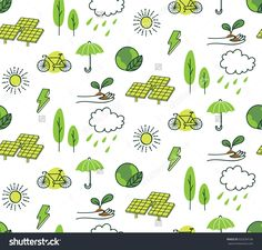 Ecology themed seamless background