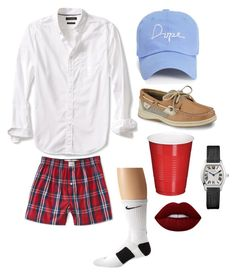 """Frat Boy Halloween Costume"" by rzindaki on Polyvore featuring Aéropostale, Banana Republic, Boohoo, NIKE, Sperry and Lime Crime"