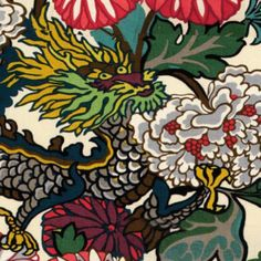 """Chiang Mai Dragon Fabric in Alabaster  Priced by the yard, 54"""" wide  Horizontal Repeat - 27""""  Vertical Repeat - 45.5""""  Fabric Content - 100% Linen"""