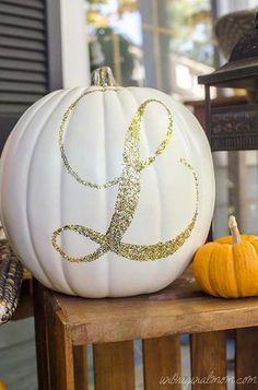 DIY Halloween Decor: Glittered monogram pumpkin