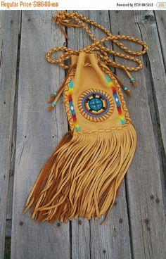 ON SALE Fringed drawstring shoulder bag with a turtle totem and raibow beadwork , Hippie handbag