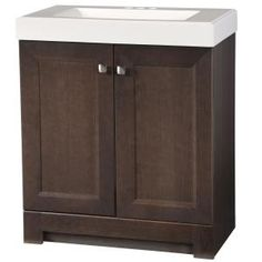 Glacier Bay Shaila 30.5 in. W Bath Vanity in Gray Oak with Cultured Marble Vanity Top in White with White Basin-PPSOFGOK30 - The Home Depot