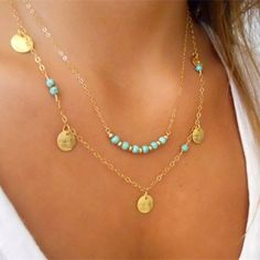 Layered Necklace - I live gold & turquoise & this is gorgeous!