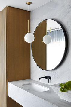Art-Deco Inspired – Hawthorn House by Christopher Elliott Design – Issue 02 Feature – Melbourne, VIC, Australia Melbourne, Round Pendant Light, Bathroom Wall, Bathroom Vanities, Bathroom Ideas, Round Mirrors, Bathroom Interior Design, Beautiful Interiors, Bathroom Inspiration