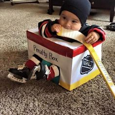 """Sometimes, hockey-obsessed husbands have the wildest baby name ideas. Nearly every year, at least one hockey dad-to-be proposes the name """"Gretzky"""". Baby Halloween Costumes, Baby Costumes, Halloween Kids, Pregnant Halloween, Family Costumes, Halloween Makeup, Baby Boys, Baby Kostüm, Baby Boy Hockey"""
