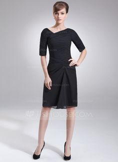 Sheath/Column V-neck Knee-Length Chiffon Mother of the Bride Dress With Ruffle (008005693) - JJsHouse
