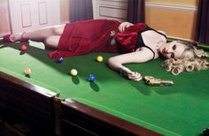 """""""A Game of Cluedo"""" Photography by Hyungwon Roo for Tatler, Styling by Hannah Teare Coppola, Crime, Billiard Room, Boudoir Photos, Hyungwon, Sensual, Sexy, Pin Up, Mystery"""