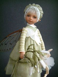 faerie child hand sculpted in polymer clay ... by Belguim artist Diane Guelinckx